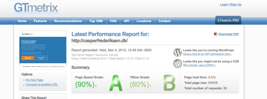 CasperFrederiksens hjemmeside performance er A og B